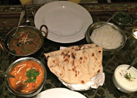 London has delicious Indian food. Naan, Lentils, Chicken, Rice, Raita...food heaven.