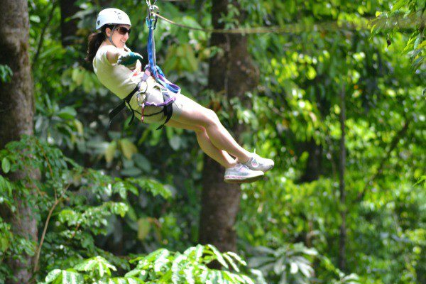 "Flying ""hands-free"" over the rain forest!"