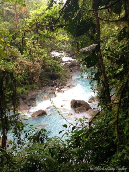 Peaking through the trees along the hotel's private paths, we caught our first glimpse of the Rio Celeste.