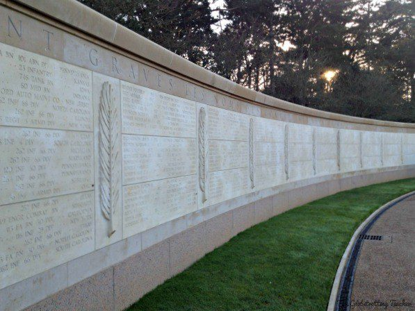 At the American Cemetery, the round monument wall lists the names of all the American soldiers buried there.