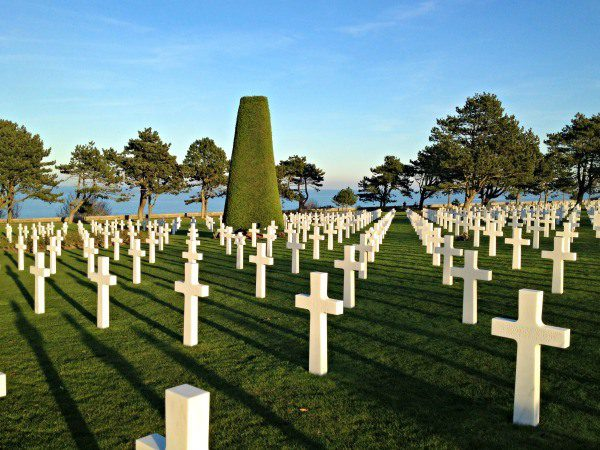 he American Cemetery looks out over Omaha Beach. It is a pristine and peaceful spot. The French gave this land to the United States for their help during WWII. When you are on this land, you are technically on American soil.