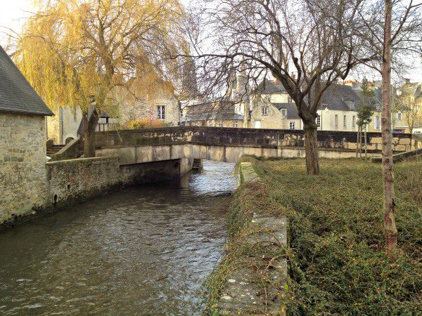 Walking along the canal in Bayeux