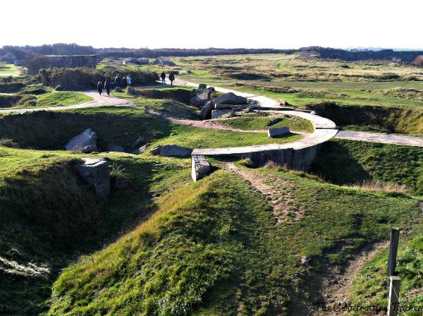 Pont-du-Hoc. The craters in the ground are from the initial bombing raid on D-Day.