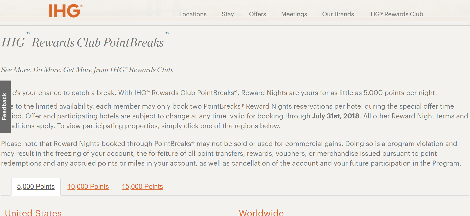 IHG Points Break Hotels