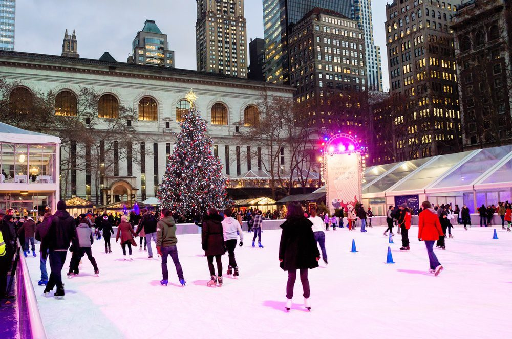 Christmas in New York City - Ice Skating at Bryant Park