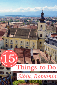 15 Splendid Things to Do in Sibiu, Romania- Are you planning a trip to Romania? Discover a medieval gem in the heart of Transylvania! Plan some time in your Romania itinerary for Sibiu. Use this guide to plan things to do in Sibiu, where to stay, how to get around and day trips from Sibiu. #travel #romania #sibiu #transylvania #medieval #europe #easterneurope #europetrip #europetravels #europeantravel