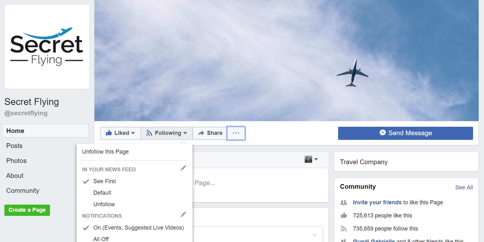 Notifications on FB- Best websites to find cheap flights