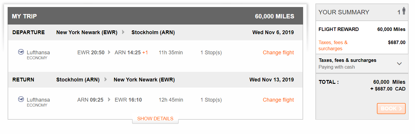 aeroplan rewards chart
