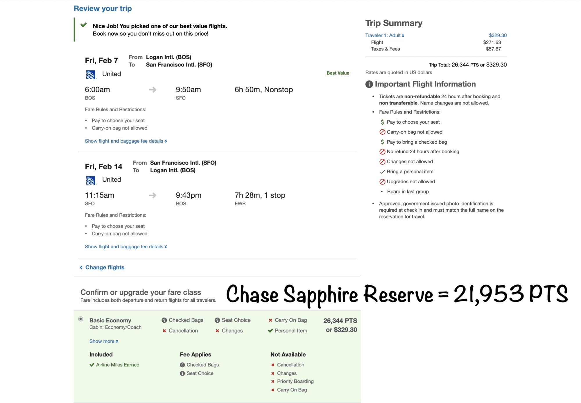 United Award though with Chase Points