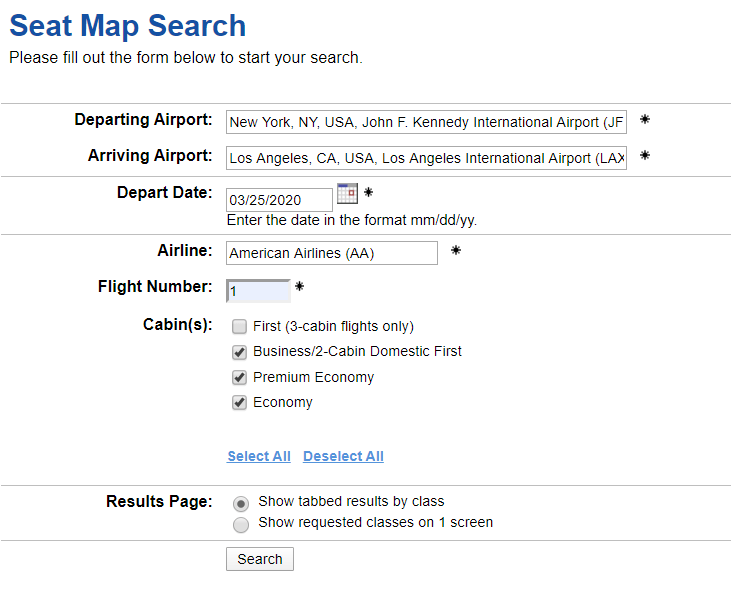 ExpertFlyer Seat Map Search